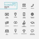 Línea fina simple iconos del diseño, pictogramas del curriculum vitae moderno fijados Imágenes de archivo libres de regalías