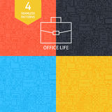 Línea fina sistema de Art Business Office Life Pattern Imagenes de archivo