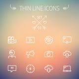 Línea fina sistema de la tecnología del icono Imágenes de archivo libres de regalías