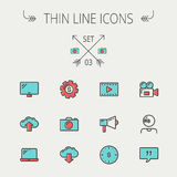 Línea fina sistema de la tecnología del icono libre illustration