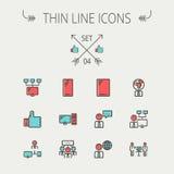Línea fina sistema de la tecnología del icono Fotografía de archivo