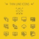 Línea fina sistema de la tecnología del icono ilustración del vector
