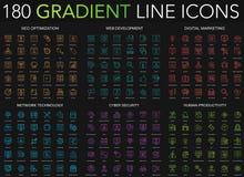 línea fina sistema del estilo de moda de la pendiente 180 de los iconos de la optimización del seo, desarrollo web, márketing dig ilustración del vector