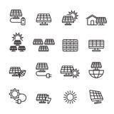 Línea fina sistema del icono de la energía solar, vector eps10 stock de ilustración