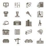 Línea fina sistema del negro de las muestras de la arquitectura del icono Vector Fotografía de archivo