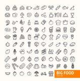 Línea fina sistema del negro grande de la comida del icono Vector Foto de archivo