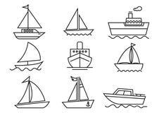 línea fina sistema del transporte de los iconos libre illustration