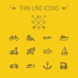 Línea fina sistema del transporte del icono Fotos de archivo