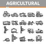 Línea fina sistema del vector agrícola de los vehículos de los iconos libre illustration