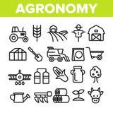 Línea fina sistema del vector de la industria de la agronomía de los iconos stock de ilustración