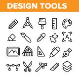 Línea fina sistema del vector de las herramientas de diseño de los iconos libre illustration