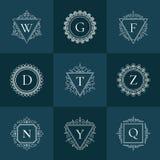 Línea fina sistema del vintage de lujo del logotipo del pictograma Fotografía de archivo libre de regalías