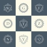 Línea fina sistema del vintage de lujo del logotipo del pictograma del concepto Foto de archivo libre de regalías
