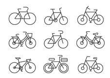Línea fina transporte de los iconos stock de ilustración