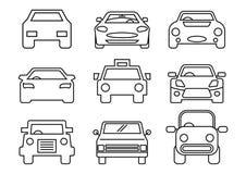 Línea fina transporte de los iconos ilustración del vector