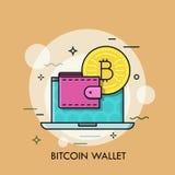 Línea fina vector de la cartera de Bitcoin del concepto Foto de archivo libre de regalías