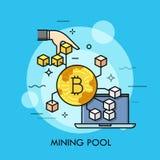 Línea fina vector de la piscina de la explotación minera del concepto Imágenes de archivo libres de regalías