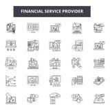 Línea financiera iconos, muestras, sistema del vector, concepto del proveedor de servicios del ejemplo del esquema ilustración del vector