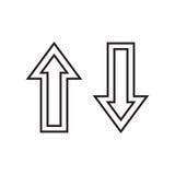 Línea flechas hacia arriba y hacia abajo Imagen de archivo libre de regalías