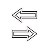 Línea flechas izquierdas y derechas Foto de archivo libre de regalías