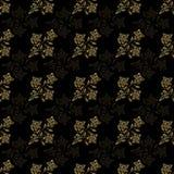 Línea flor inconsútil del oro del modelo con la hoja Ilustración del Vector