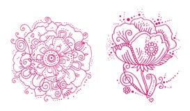 Línea floral diseños Imágenes de archivo libres de regalías