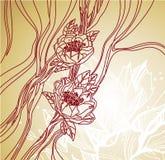 Línea floral fondo del arte Fotografía de archivo libre de regalías