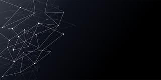 Línea fondo del punto del extracto del modelo del plexo de la conexión de los nodos Fondo del modelo del polígono del negro de la libre illustration