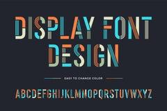 Línea fuente de la plantilla Alfabeto condensado colorido y fuente libre illustration