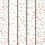 Línea geométrica retra modelos inconsútiles de Memphis de las formas fijados Moda 80-90s del inconformista Texturas abstractas de Imágenes de archivo libres de regalías