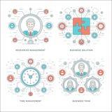 Línea gestión plana, Team Building, éxito, búsqueda del empleado Imagen de archivo