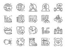 Línea global sistema de la atención sanitaria del icono Iconos incluidos como ejercicio, revisión médica, comida sana, centro de  libre illustration