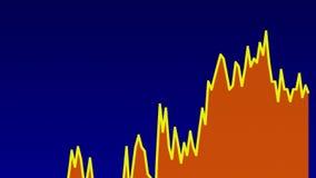 Línea gráfico anaranjada en la carta azul del fondo del comercio de la inversión del mercado de acción stock de ilustración