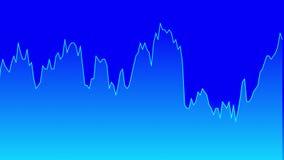 Línea gráfico azul en la carta azul del fondo del comercio de la inversión del mercado de acción almacen de metraje de vídeo