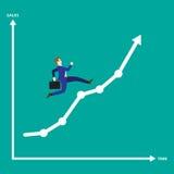 Línea gráfico de Running On Growth del hombre de negocios Fotografía de archivo