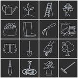 Línea Grey Icons Gardening Equipment stock de ilustración
