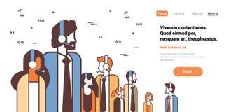 Línea hembra-varón del retrato del personaje de dibujos animados del concepto del servicio de asistencia del centro de atención t stock de ilustración