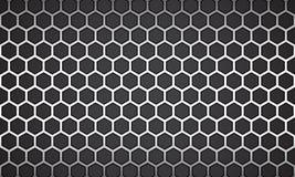 Línea hexágono blanco del ejemplo del vector con el fondo negro ilustración del vector