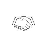 Línea icono, acuerdo del apretón de manos del negocio del trato stock de ilustración