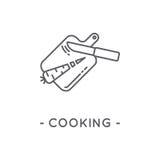 Línea icono de cocinar negro en el fondo blanco Fotos de archivo
