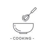 Línea icono de cocinar negro en el fondo blanco Imagen de archivo libre de regalías