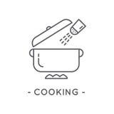 Línea icono de cocinar negro en el fondo blanco Imagen de archivo