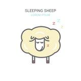 Línea icono de color de las ovejas el dormir del estilo Ilustración aislada stock de ilustración