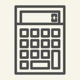 Línea icono de la calculadora Ejemplo del vector de la contabilidad aislado en blanco Calcule el diseño del estilo del esquema, d libre illustration