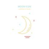 Línea icono de la luna del color del estilo Ilustración del vector ilustración del vector