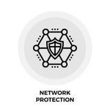 Línea icono de la protección de la red Foto de archivo libre de regalías