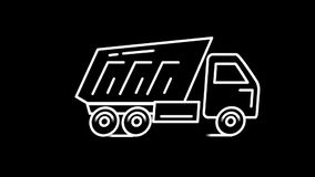 Línea icono del camión volquete en Alpha Channel