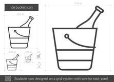Línea icono del cubo de hielo stock de ilustración