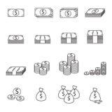 Línea icono del dinero Fotografía de archivo libre de regalías