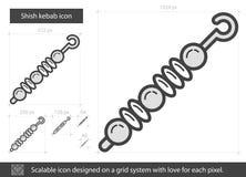 Línea icono del kebab libre illustration
